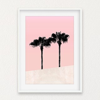 Tropical Palms on Pink