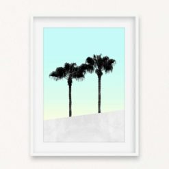 Palms on Blue Wall Art Print