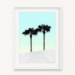 Palms on Blue Wall Art Print