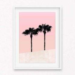 Palms on Pink Wall Art Print