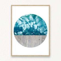 Blue Flowers Concrete Wall Art Print