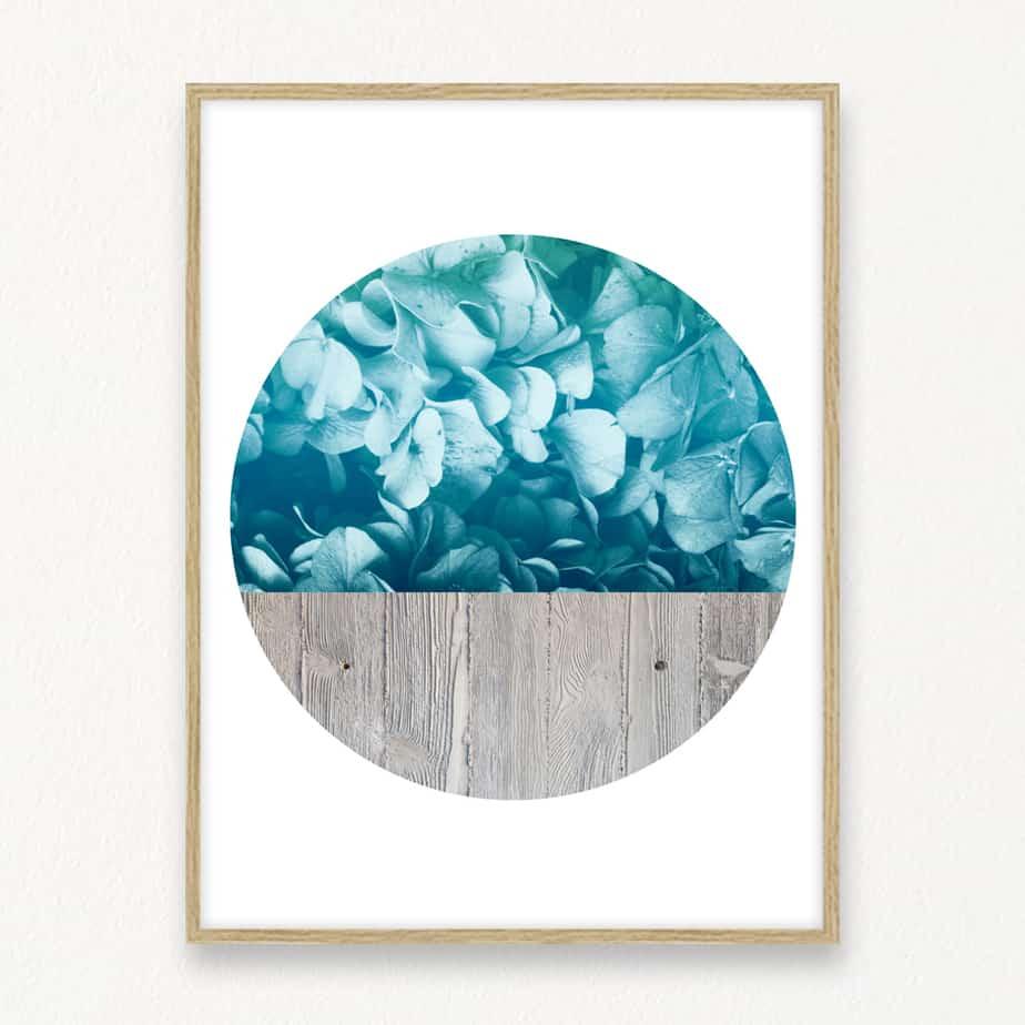 Blue Flowers Concrete Wall Art Print