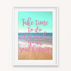 Soul Happy Quote Wall Art Print