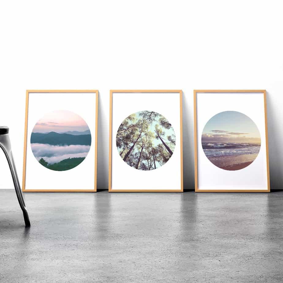 framed circle wall art prints