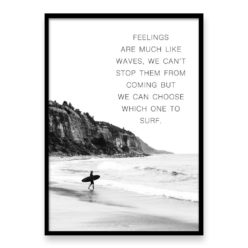 feelings are waves quote wall art print