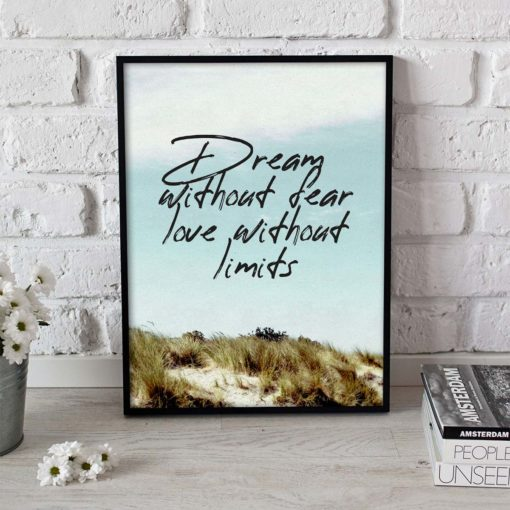 Dream Without Fear Quote Wall Art Print