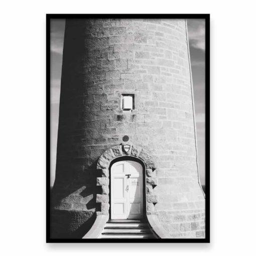 Lighthouse Door BW Wall Art Print