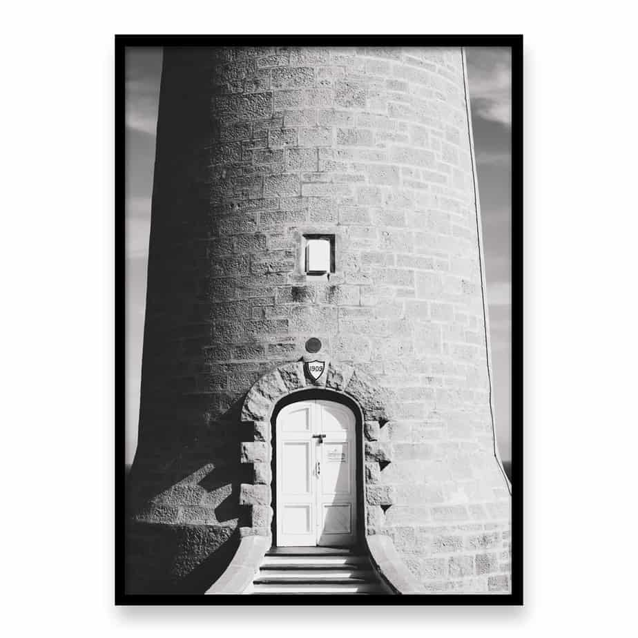 Lighthouse Door BW Wall Art Print