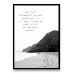no plan Quote Wall Art Print