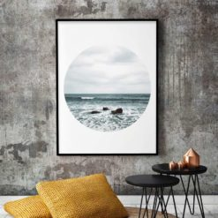 beach waves circle framed wall print