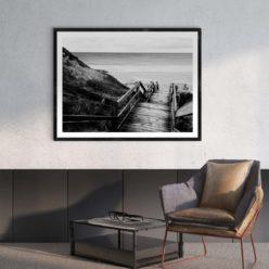 Bore Beach Steps LS - BW Wall Art Print