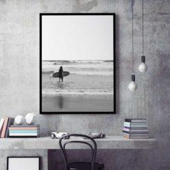 Berrys Surfer BW Wall Art Print