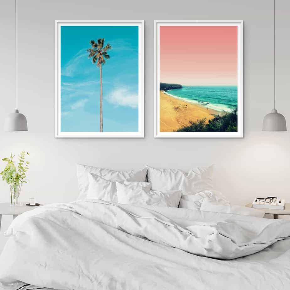 wall art print palm tree beach
