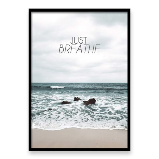 just breathe quote wall art print
