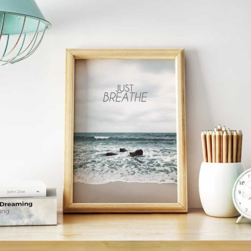 wall art print just breathe
