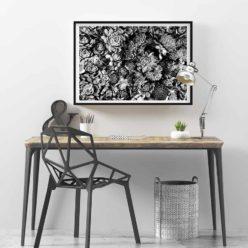 succulent bloom bw wall art