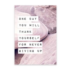 never giving up quote wall art print