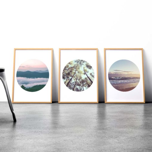 Set of 3 Prints - Mountains Forest Ocean