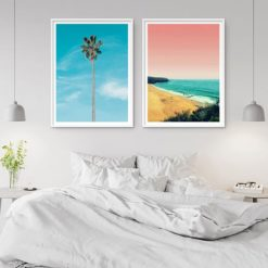 beach scene lone palm wall art prints