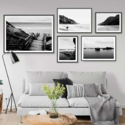 Set of 5 Beach Prints - Black and White Gallery Wall Art Prints