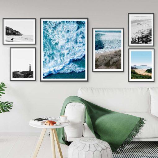 Set of 6 Beach Prints - Coastal Gallery Wall Art Prints