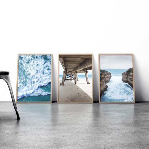 Set of 3 Coastal Prints - Coastal Gallery Wall Art Prints