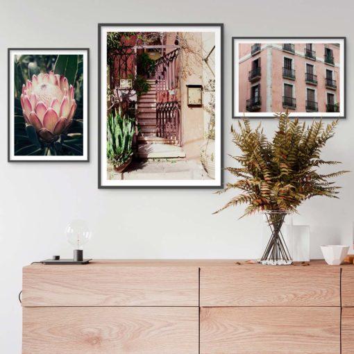 Set of 3 Pink Prints - Modern Gallery Wall Art Prints
