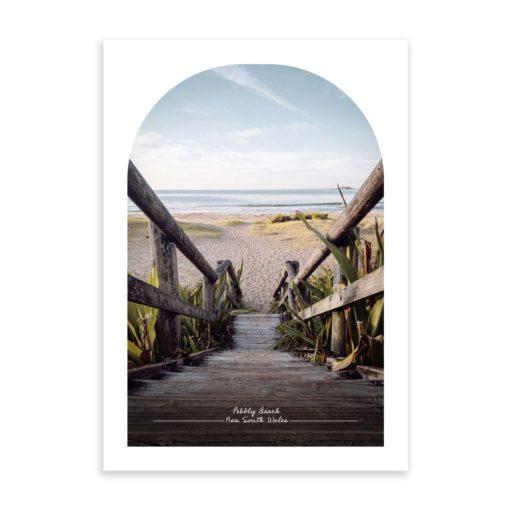 pebbly beach travel poster